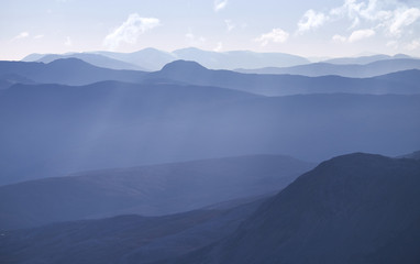 Cold light of day over the Scottish Highlands.