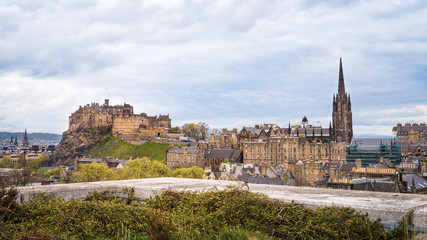 Edinburgh including the Castle cityscape with dramatic skies