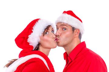 kissing santa couple