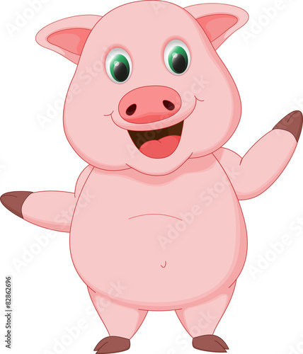 Fotobehang Boerderij happy pig cartoon