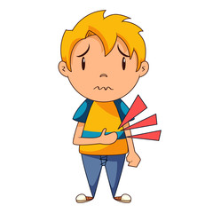 Stomach ache, boy, vector illustration