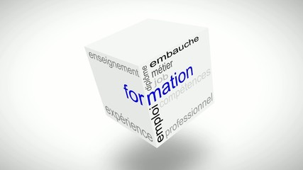 formation cube with some relevants french words