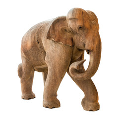 Old elephant model on isolated background
