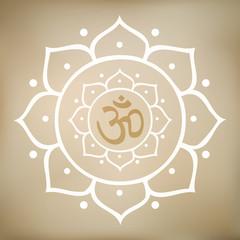 Vector Lotus Mandala with Om Symbol