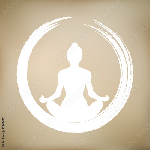 Plagát, Obraz Vector Woman Doing Yoga with Zen Circle