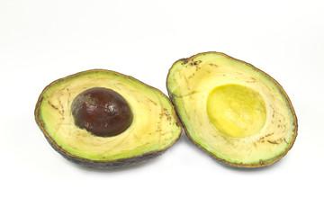 rotten avocado on white scre