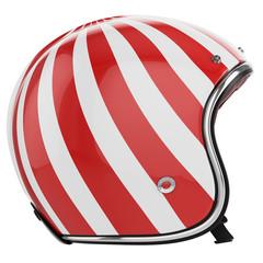 Motorcycle helmet red white left view