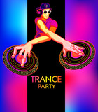 Poster template with club dj for trance party poster