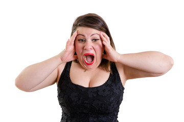 Terrified woman holding her head with both hands