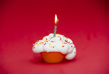 Cupcake with a lit candle