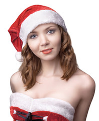 portrait of a beautiful young girl in Santa clothes