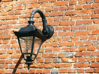 Old wall lantern, night