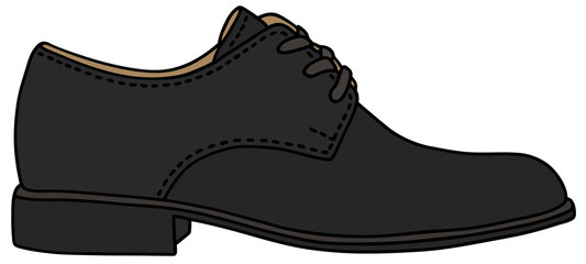 Hand drawing of a black shoe