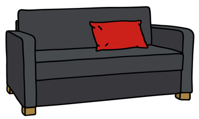 Hand drawing of a black sofa