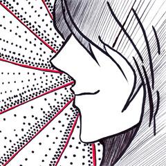 Dot stripe anime manga black and white cartoon