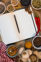 Spices - Open Recipe Book - Space for Text