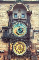 Astronomical Clock in Prague, Czech Republic. Vintage