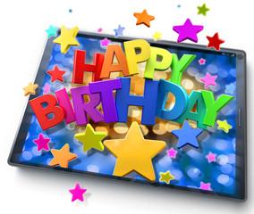 happy Birthday in tablet