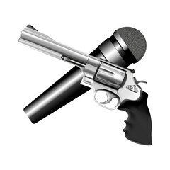 microphone and revolver