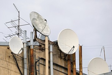 television antennas on the old house