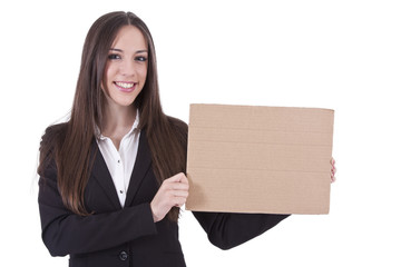 girl with cardboard sign isolated