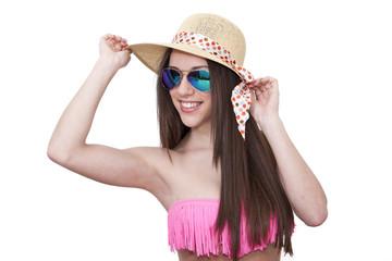 bikini girl, pamela and sunglasses isolated