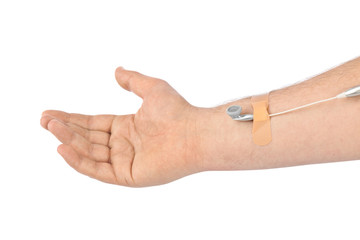 Hand with earphones like medical IV infusion