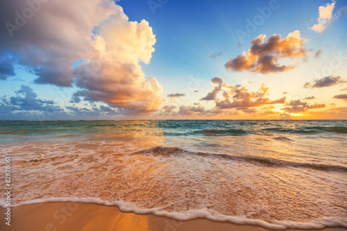 Beautiful cloudscape over Caribbean sea, sunrise shot