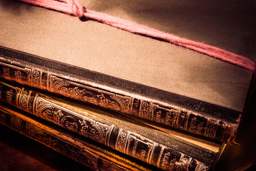 Old vintage books. Retro style filtered photo