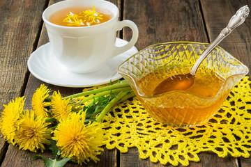 Flower tea and jam of dandelions