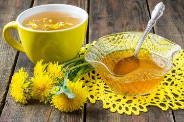 Useful jam of dandelions and flower tea