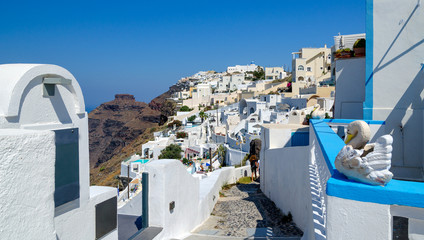 Cliff of Santorini island and traditional architecture