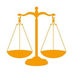 Icono aislado balanza naranja