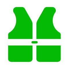 Icono aislado chaleco seguridad verde
