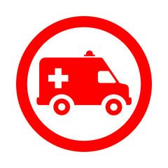 Icono redondo ambulancia rojo