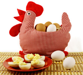 Handmade chicken and plate with boiled eggs