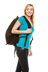 smiling teen girl female student with bag backpack