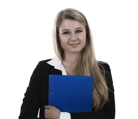 Frau mit Mappe - Textfreiraum -