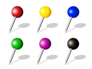 Sammlung von bunten Pins,