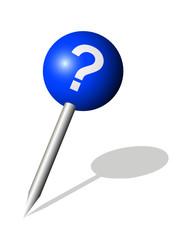 Runde blaue Stecknadel mit Fragezeichen Symbol