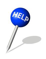 Runde blaue Stecknadel mit Help Symbol
