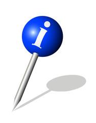Runde blaue Stecknadel mit Info Symbol