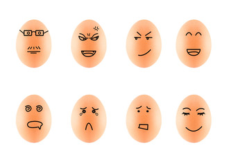 Funny Drawing Faces on Eggs in carton isolate on white with clip