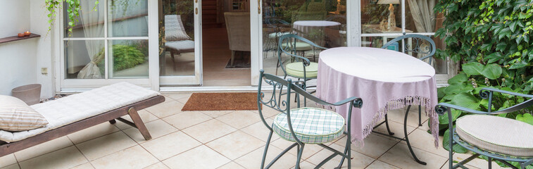 Elegant veranda with designed furniture
