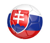 Soccer ball, or football, with the country flag of Slovakia