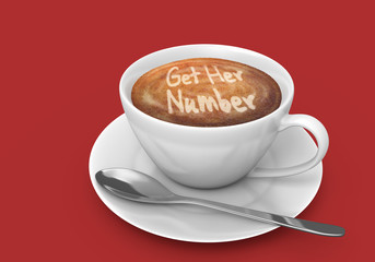 Latte art message in a coffee cup that says get her number