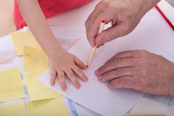 Drawing little boy hand