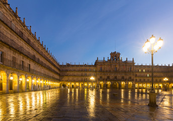 Plaza Mayor  in  mornig. Salamanca