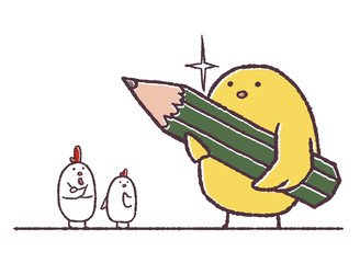 鉛筆を持つヒヨコ