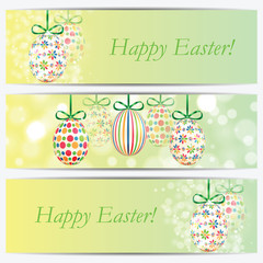 Set of banners with colorful Easter eggs